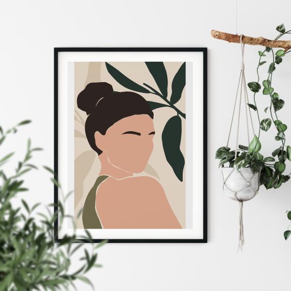 mockup poster femme chignon